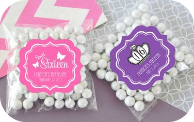 Personalized Sweet Sixteen Quince Clear Candy Bags  - DIY favor packaging