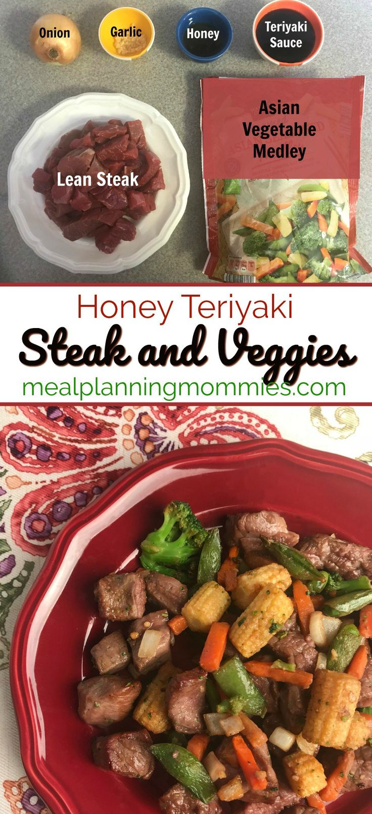 This super simple Honey Teriyaki Steak and Veggies just requires 6 ingredients and 2 easy steps: Marinate and saute. Just 5 WW FreeStyle SP per serving!