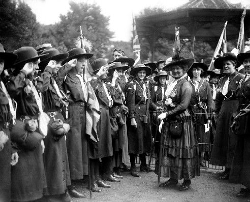 Lady Baden Powell inspecting the guard of honour of Girl Guides at Battersea Park in 1916. This may actually be Agnes Baden Powell, Robert Baden Powell's sister who was Chief Guide until his wife Olave Baden Powell took over in 1918.