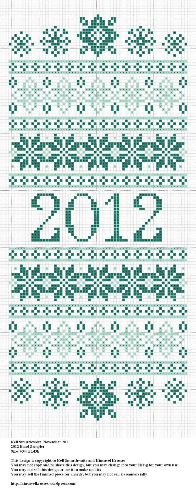pretty 2012 samplerCrosses Stitches Embroidery, 2012 Crosses, 2012 Sampler, 2012 Samples, Crosses Stitches Charts, 2012 Band, Fair Isle, Kincavel Kross, Band Sampler