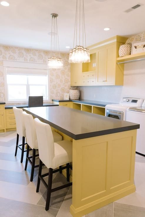 Yellow and gray laundry room and craft room combo