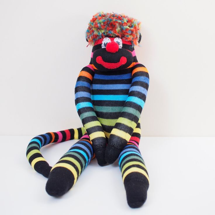 Sock Monkey - Clown - Afro - Sock Toy - Sock Doll - Rainbow by Handmadeley on Etsy