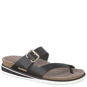 Mephisto Safo Waxy Leather Black Sandals - HappyFeet.com