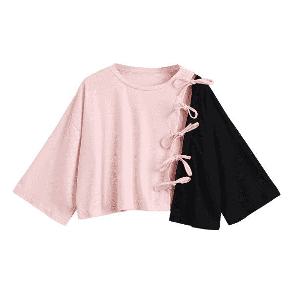 Contrast Self Tie Asymmetric Hem Tee (£15) ❤ liked on Polyvore featuring tops, t-shirts, pink t shirt, pink top, asymmetrical hem top and pink tee