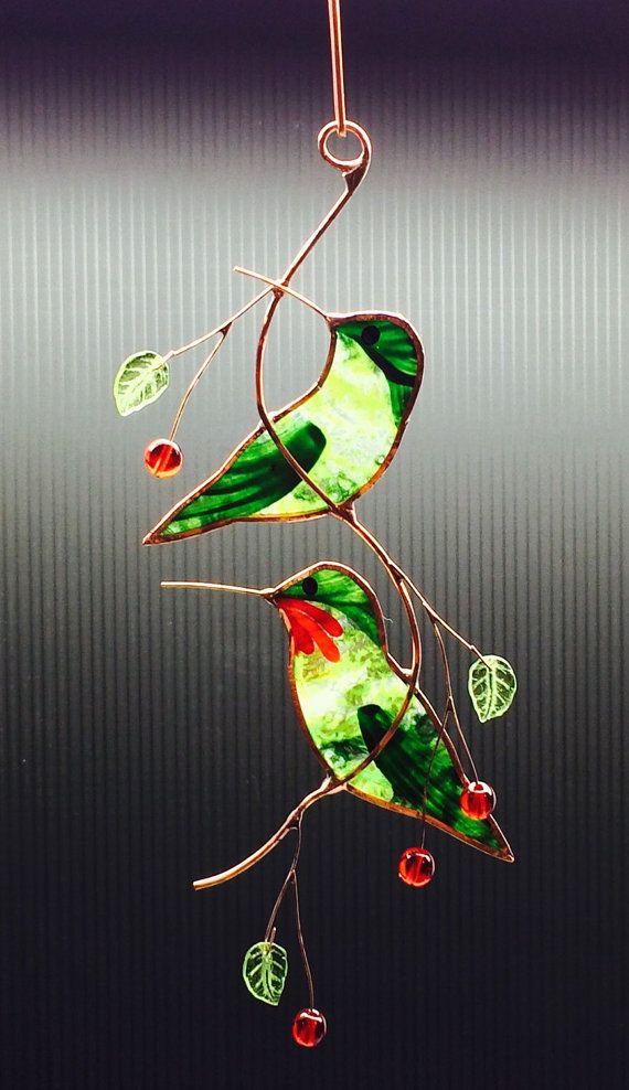 Glasmalerei-paar von Kolibris von BirdsAndBugs1 auf Etsy