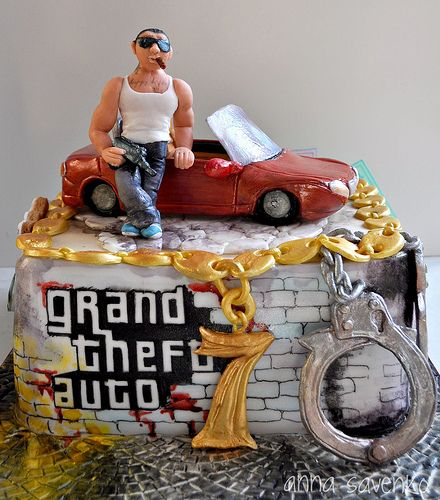 Frozen Party Game Ideas: Grand Theft Auto Cake