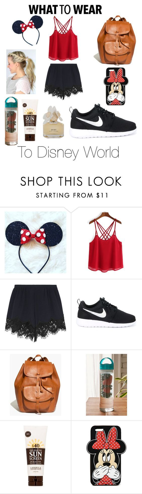 What To Wear To Disney World by ecthebooklion ❤ liked on Polyvore featuring Chloé, NIKE, Madewell, Urban Outfitters, Lavanila, Forever 21, Marc by Marc Jacobs, disney and disneybound