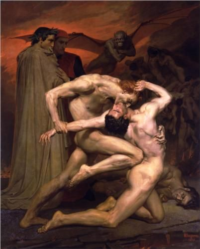 "Dante and Virgil in Hell - William-Adolphe Bouguereau. can't you just hear them saying ""oh dear, he should definately put some ice on that."""