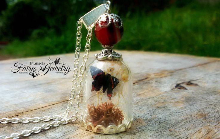 Collana microgiardino verticale farfalla licheni terrario agata , by Evangela Fairy Jewelry, 15,00 € su misshobby.com