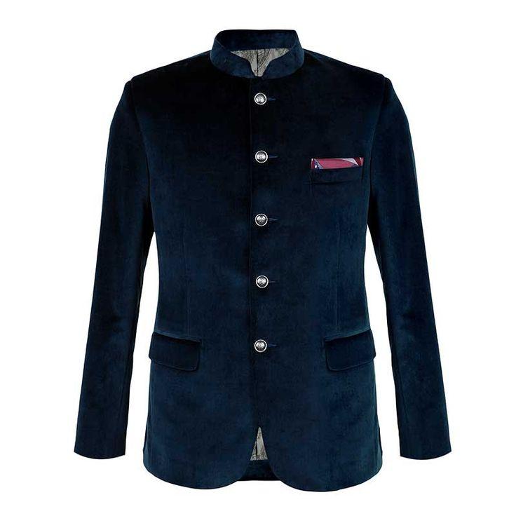 Mandarin Collar Jacket in Velvet from ELITIFY