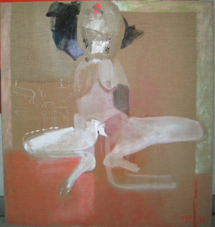 Teresa Pągowska, Pani Budda, 1994, tempera, płótno, 140x130 cm