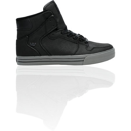 Supra Vaider Tuf black buffed suede high top with a vulcanized sole and the skate minded style you need. The original, authentic Vaider from Supra Footwear.