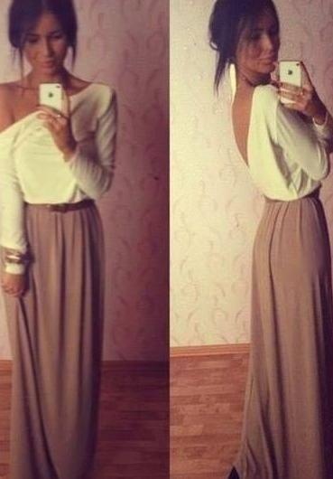 maxi skirt + off the shoulder long sleeved shirt