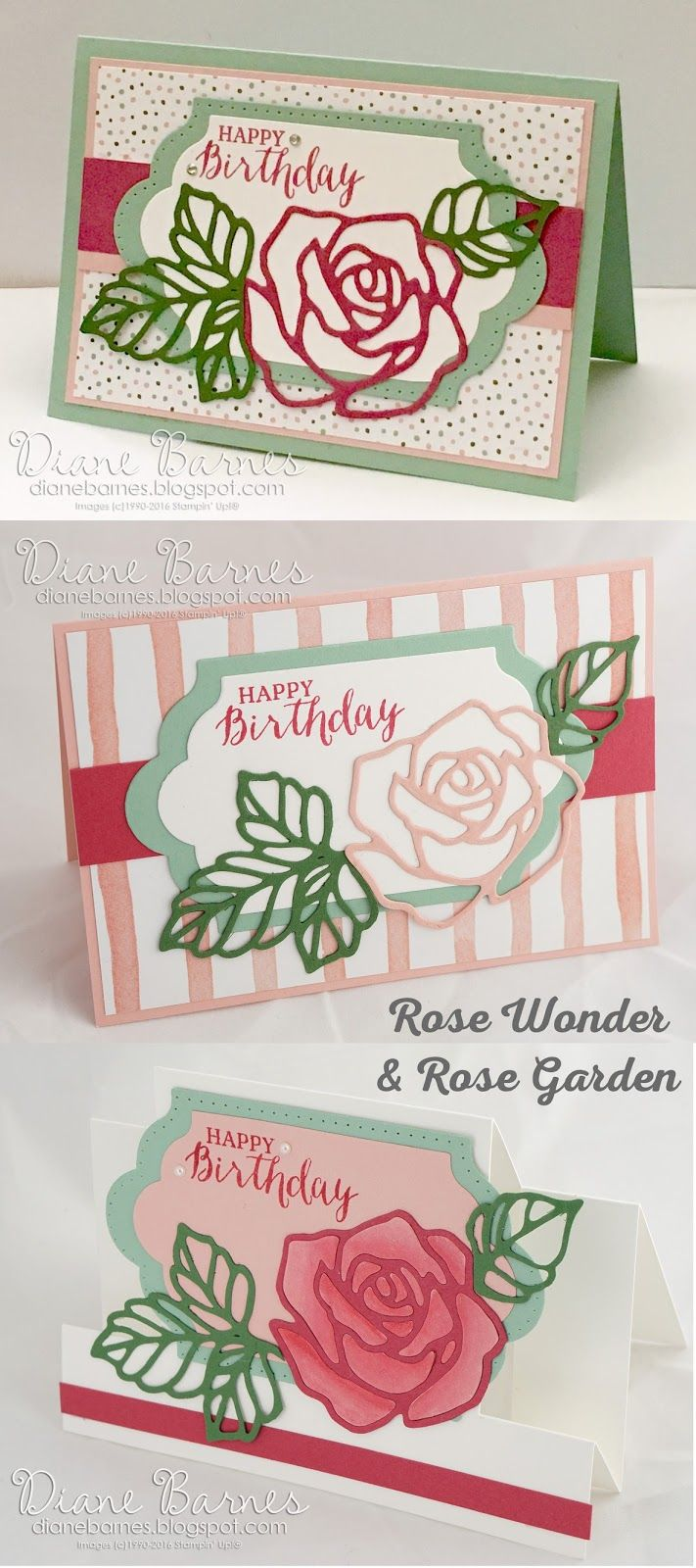 birthday cards using Stampin Up Rose Wonder stamps / Rose Garden dies & Lots of Labels dies. 201617 Annual Catalogue. by Di Barnes #colourmehappy