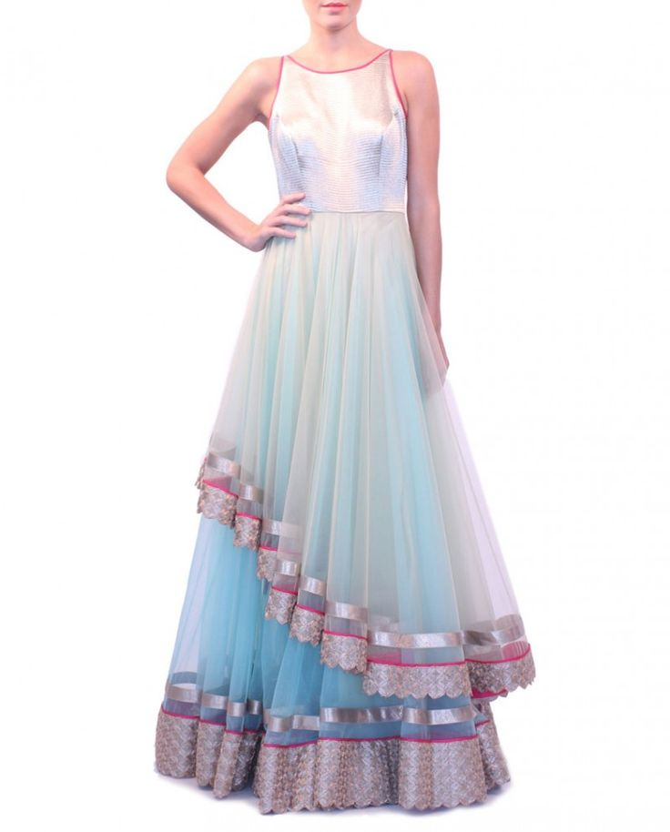 Mint Blue and Gray Layered Anarkali Dress By JADE By Monica & Karishma
