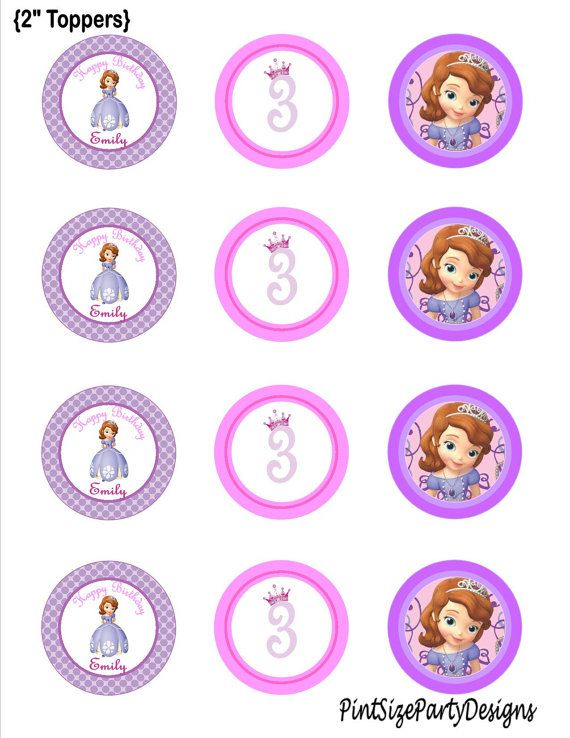 Sofia the First Birthday cupcake toppers by PintSizePartyDesigns, $5.00