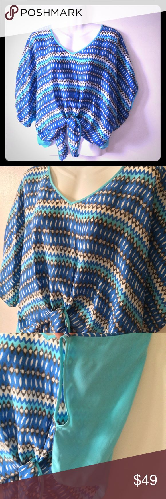 """Fifteen twenty guc szXS tiefront Aztec prnt blouse Fifteen twenty guc szXS tie front blouse Aztec Print front solid teal/ med blue back  Great gently used condition with no noted rips or tears. Minor, (smaller than pencil eraser, and not noticed unless up close)  stains back right shoulder   Garment is oversized and fits larger than a standard xs approx 48"""" chest 23"""" length  Made in USA  M1 Fifteen Twenty Tops Blouses"""