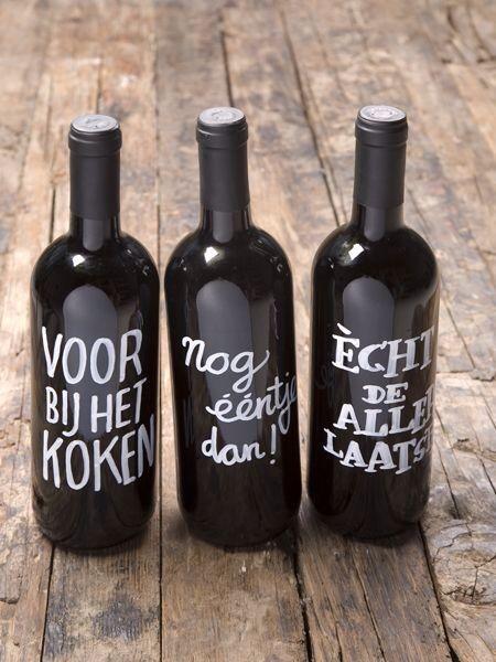 Wijnfles met krijtverf