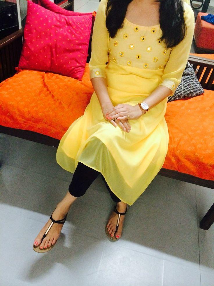 #yellow #kurta #threequartersleeves #kneelength