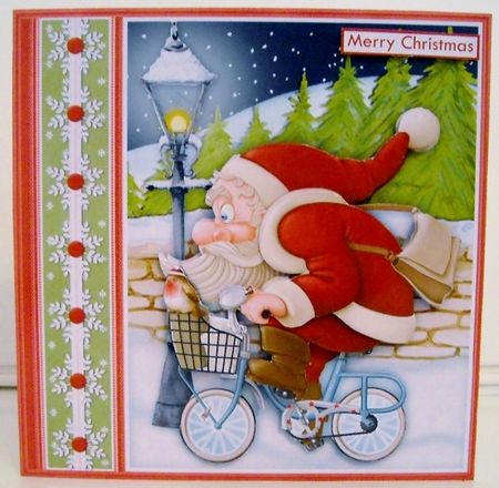 Santa on his Bike 7 5 Christmas Decoupage   Insert Kit on Craftsuprint created by Pam Stubley - I printed onto 230gsm photo paper and cut out all the pieces. I attached the main image onto a white base card and added the decoupage and a sentiment using foam pads. Another delightful card from Janet which is easy to make and sure to please.