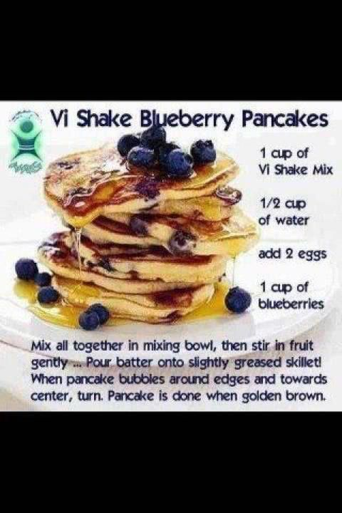 Blueberry Pancakes Body by Vi Recipe-soooo good!  I used 1 egg and 2-3 egg whites.