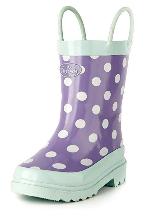 4b178d36 Amazon.com | Outee Girls Kids Rubber Rain Boots Purple Waterproof Shoes  Polka Dots Cute Print with Easy-On Handles Classic Comfortable Removable  Insoles ...
