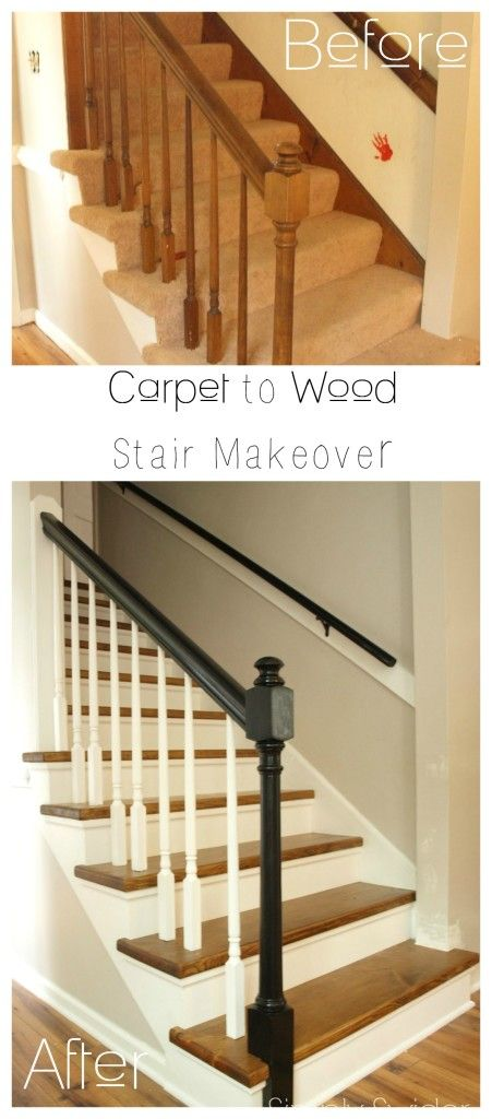 Stairway makeover reveal! Boring builder's grade carpeted stairs get a custom wood makeover with ebony handrails for only $150!