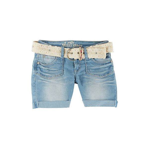 Wallflower Juniors Lace Belted Denim Shorts (1.275 RUB) ❤ liked on Polyvore featuring shorts, light wash denim, lace jean shorts, short jean shorts, lace shorts, embroidered shorts and cuffed shorts