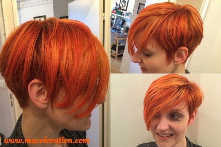 Mèches blondes, Apricot et Tangerine directions by la riché. Fait par macoloration.com