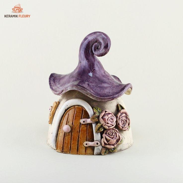 Windlicht Häuschen für Miniaturgarten #Windlicht #Gartendeko #Keramik
