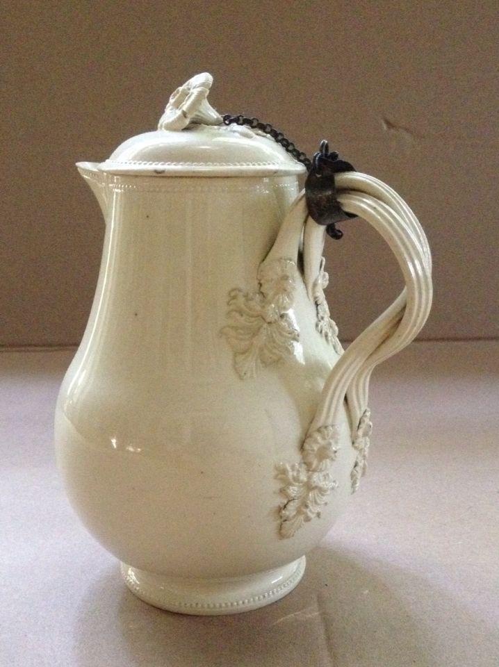 Antique English Pottery C Creamware Milkjug And Cover