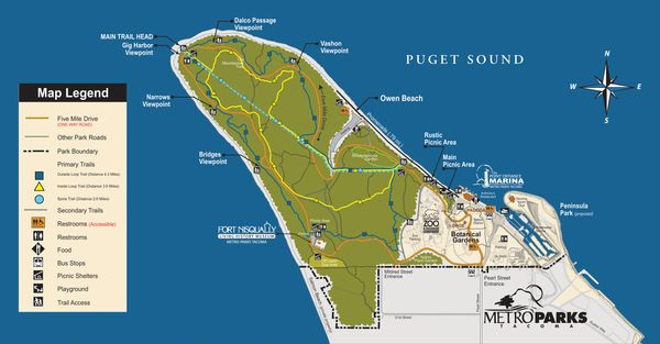 Point Defiance Park and its Five Mile Drive loop is a must for any bicycle traveler visiting Tacoma. The drive is closed to motorized traffic every Saturday and Sunday until 1pm.