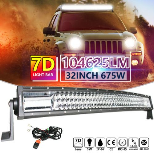 7D 32INCH 675W CURVED LED WORK LIGHT BAR FLOOD SPOT COMBO OFFROAD TRUCK PHILIPS