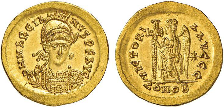 NumisBids: Nomisma Spa Auction 50, Lot 40 : ROMA IMPERO Marciano (450-457) Solido (Costantinopoli) Busto elmato...