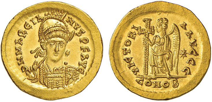 NumisBids: Nomisma Spa Auction 50, Lot 40 : ROMA IMPERO Marciano (450-457) Solido (Costantinopoli) Busto elmato...