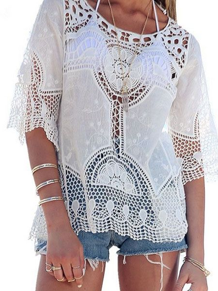 Hollow Out Stylish Round Neck Blouses