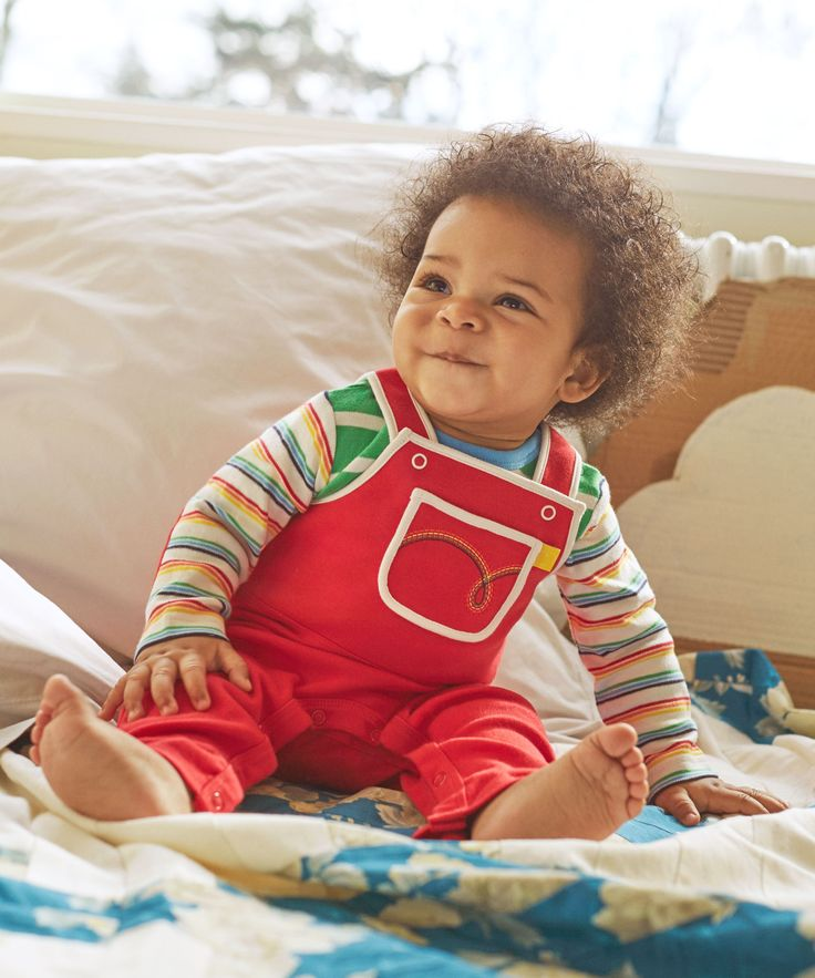 Little Bird by Jools Red Dungarees by Mothercare