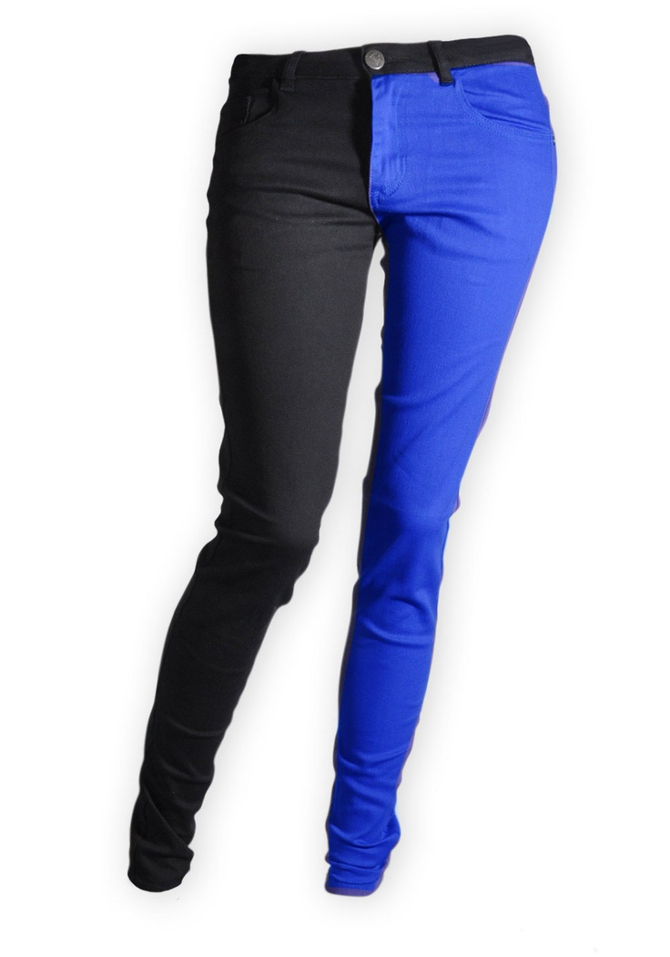 Split Leg Colour Skinny Jeans -- I wonder, if I found two pairs of skinny jeans, in the same size, if I could do this myself... The hard part would be the zipper, I think.