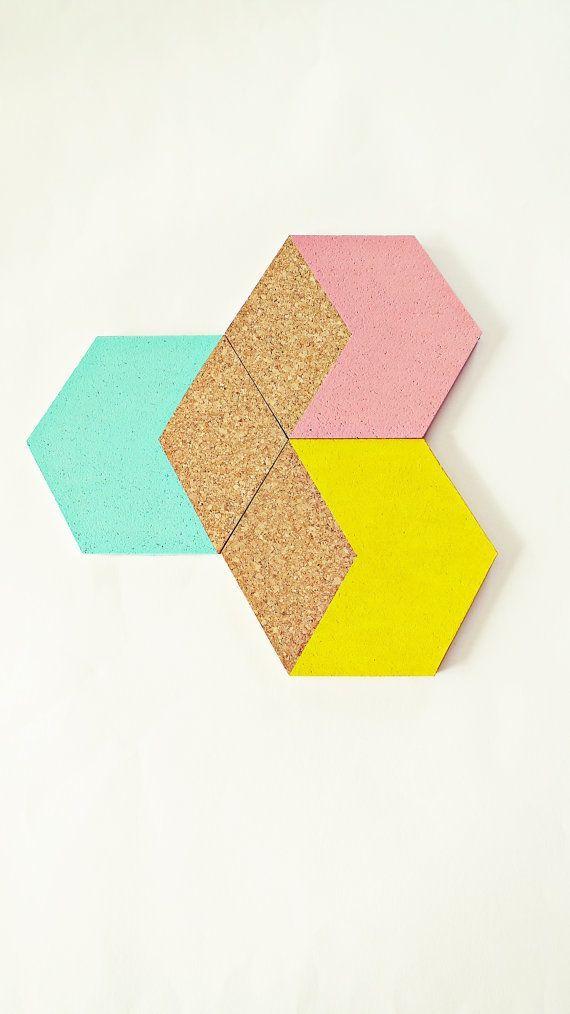 """3 geometrica Cork sottobicchieri """"Esagono"""" pastello, menta, rosa, giallo, sottobicchieri in sughero, utensili da cucina, utensili da cucina, dip-dye, esagono"""