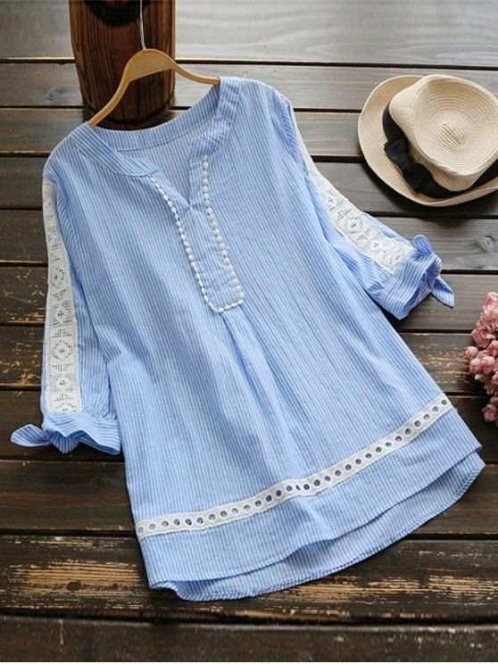 Notched Openwork Striped Blouse - BLUE STRIPE ONE SIZE