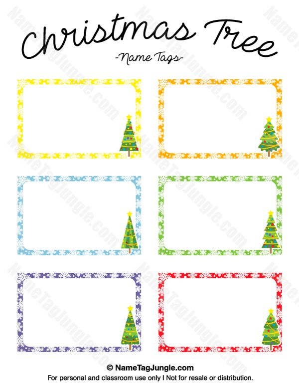 Free printable Christmas tree name tags. The template can