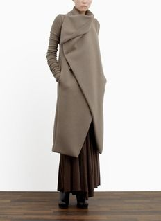 Rick Owens Lilies - Padded collar wool-blend coat.