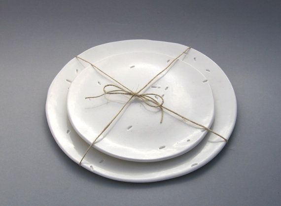 White Porcelain Plates with Rice Pattern - Modern Kitchen - Set of two Plates 7 and 9 inches