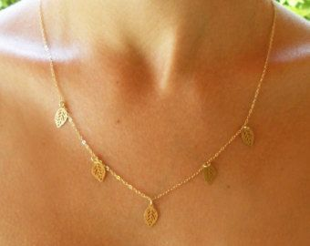 Leaf necklace, gold charm necklace, bridal necklace, gold necklace, boho necklace, bohemian necklace, gift for her, wedding