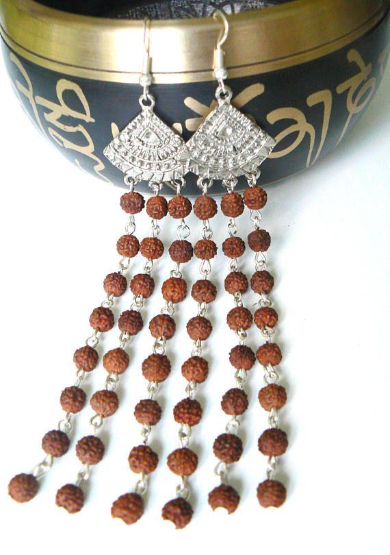 Long #Rudraksha Indian earring, divine feminine jewelry, #hippie earring, #spiritual adornment, Hindu goddess #Parvati, #Shiva, #yoga gift