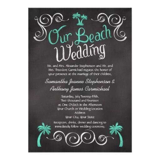 Chalkboard Turquoise Palm Tree Beach Wedding Invite