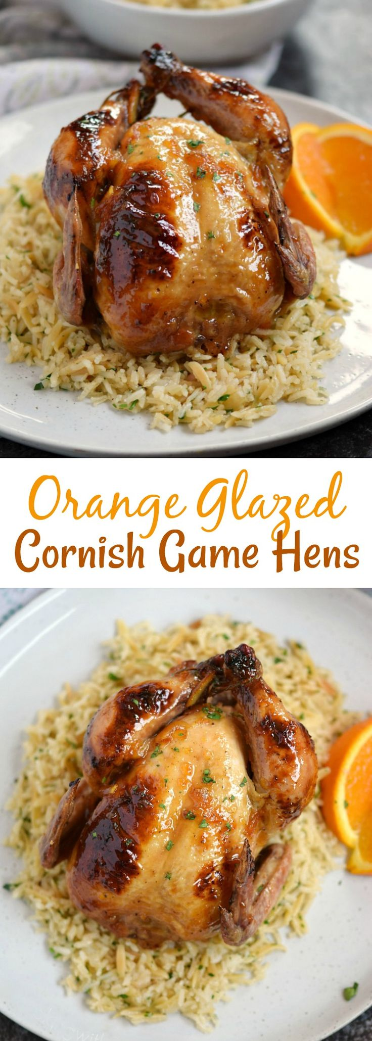 Jazz up date night with these delicious Orange Glazed Cornish Game Hens served on a bed of Rice Pilaf, for a fancy yet easy to prepare meal | cookingwithcurls.com