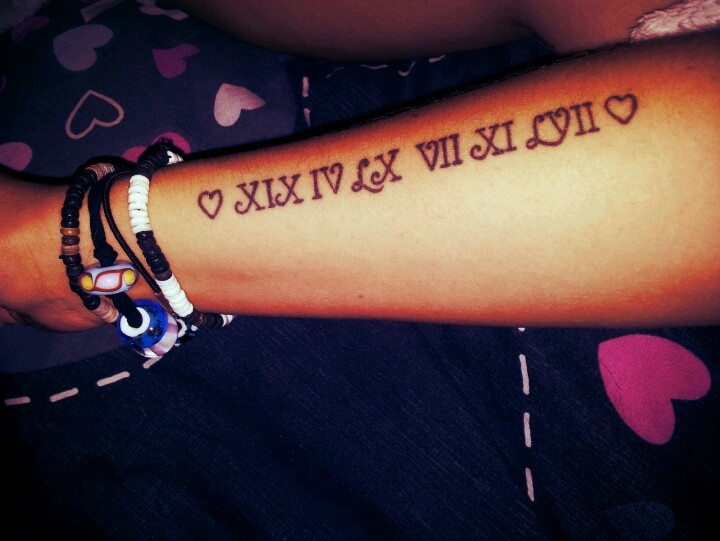 Roman numeral tattoo. I really like the font and the way Vs become hearts but would like to have the placement on my spine