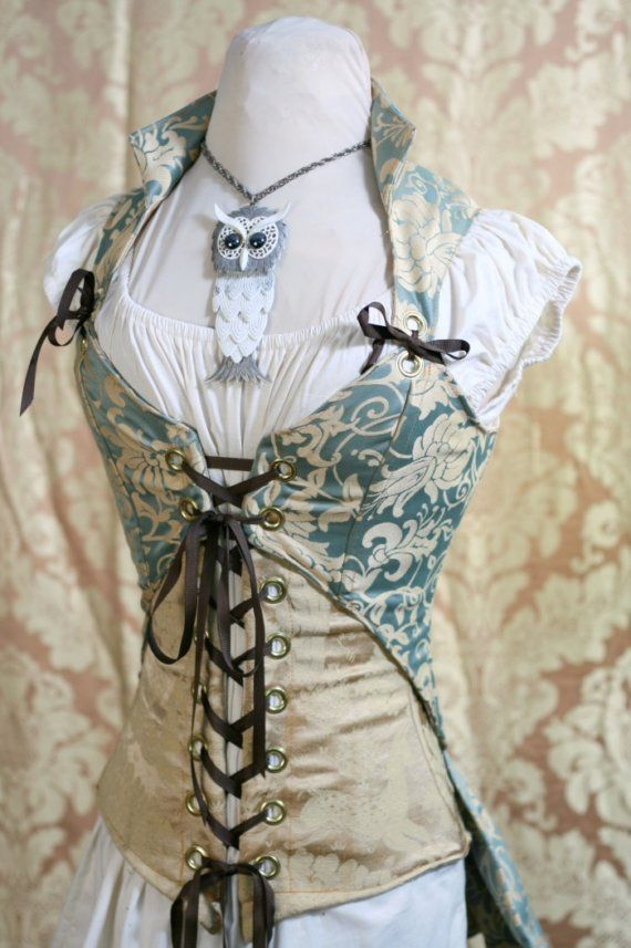 Pale Blue and Gold Corset Set by Damsel in this Dress