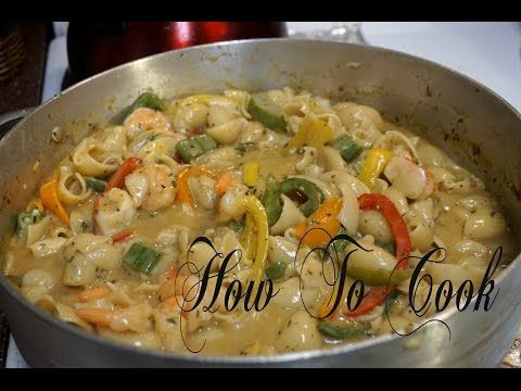 HOW TO MAKE JAMAICAN STYLE RASTA PASTA WITH COCONUT MILK & SEAFOOD RECIPE 2017 - YouTube